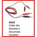 Cable 2 Bananas Con  2 Pinzas Cocodrilo